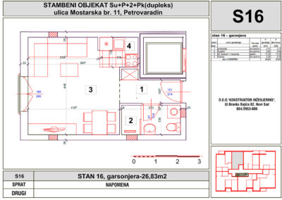STAN 16, garsonjera-26,83m2