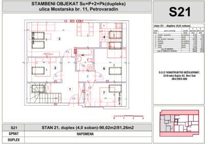 STAN 21, duplex (4,0 soban)-90,02m2/81,26m2