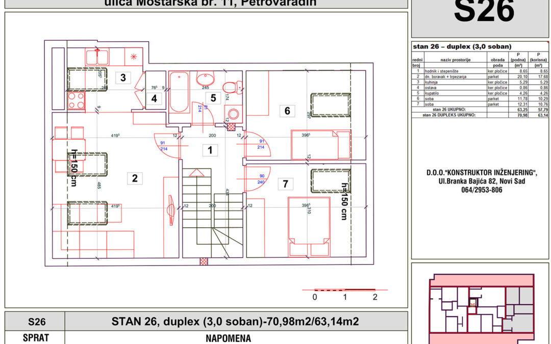 STAN 26, duplex (3,0 soban)-70,98m2/63,14m2
