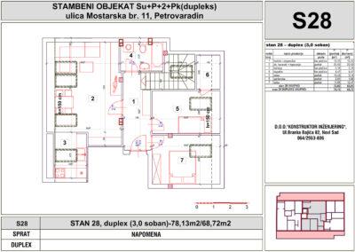 STAN 28, duplex (3,0 soban)-78,13m2/68,72m2