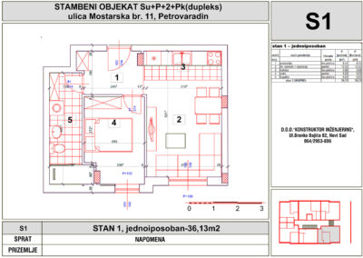 STAN 1, jednoiposoban-36,13m2