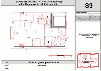 STAN 9, garsonjera-26,83m2