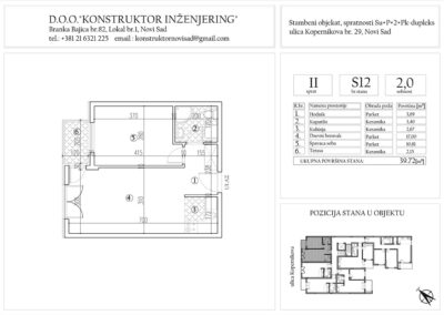 Stan 12, dvosoban -39,72 m2
