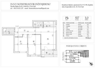 Stan 17, trosoban -59,81 m2