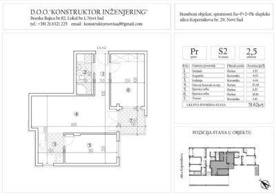 Stan 2, dvoiposoban – 51,62 m2