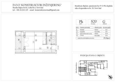 Stan 20, garsonjera -25,31 m2