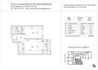 Stan 23, dvosoban -36,70 m2