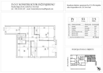 Stan 3, dvoiposoban – 47,52 m2