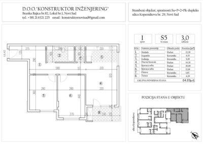 Stan 5, trosoban – 64,83 m2