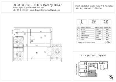 Stan 9, dvosoban – 42,03 m2